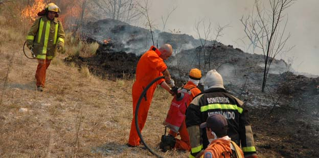 Bomberos extinguiendo fuego