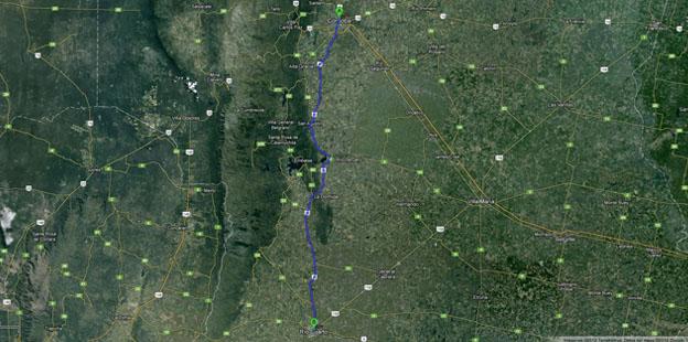 mapa Córdoba - Río Cuarto