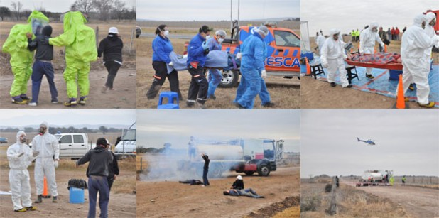 Simulacro: accidente de camión con sustancias tóxicas