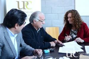La rectora Bohorquez se reunió con los secretarios de la UEPC Juan Monserrat y Oscar Ruibal.