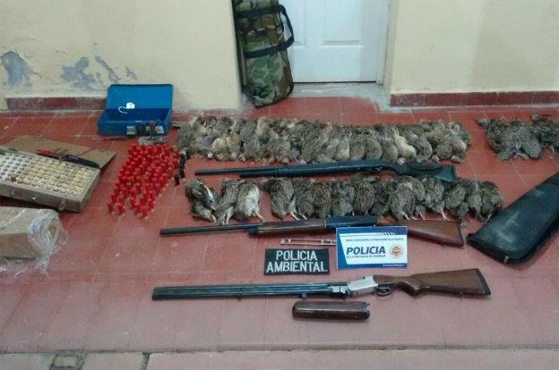 Policía Ambiental secuestró 60 perdices, cuatro martinetas y tres escopetas