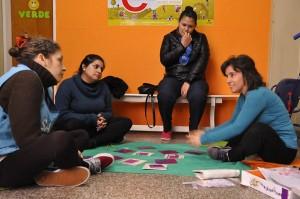 Las mamás y trabajadoras junto a Soledad Rebelles
