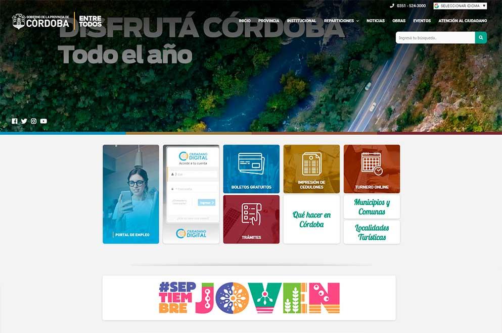 El Gobierno de la Provincia de Córdoba renueva su portal web