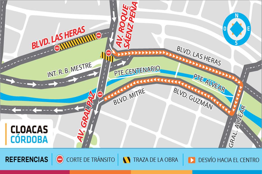 Corte de tránsito en Av. Roque Sáenz Peña por obras de cloacas
