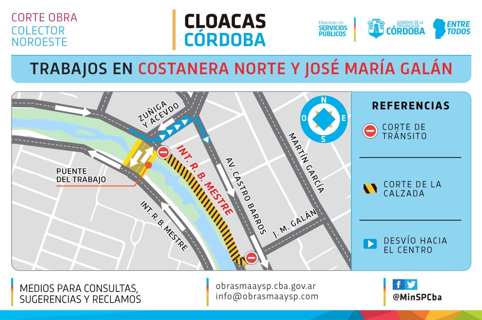 Desvío de tránsito en Costanera por trabajos en  colector cloacal